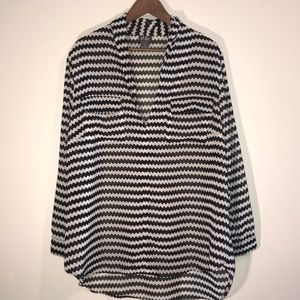 Dots black and white zig zag blouse 2X